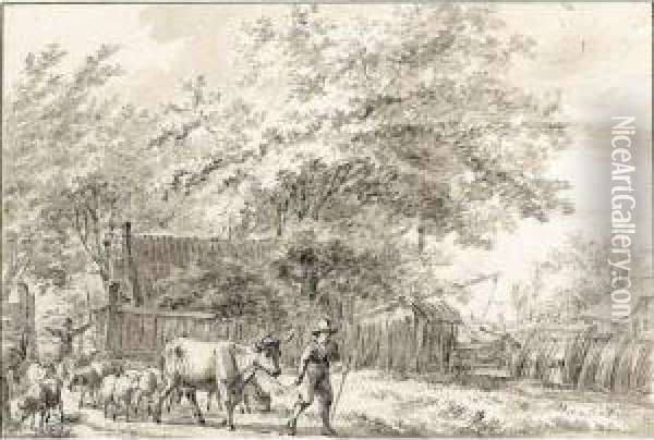 A Landscape With A Peasant And His Cattle Oil Painting - Jacob Cats