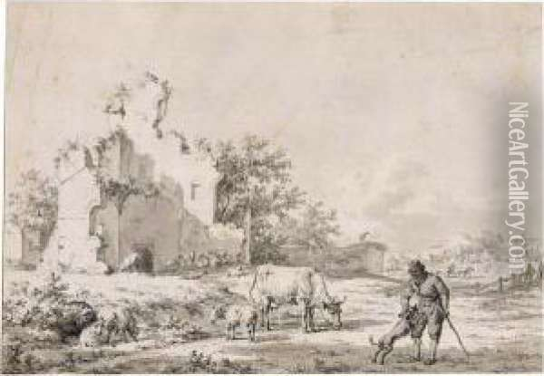 Landscape With A Peasant, His Dog And His Flocks By Ruins Oil Painting - Jacob Cats