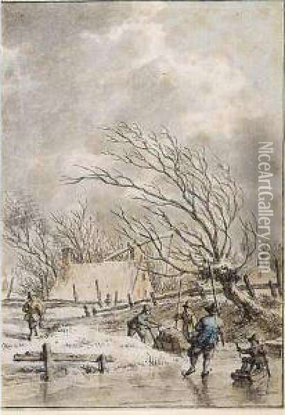 Winter Landscape With Skaters Oil Painting - Jacob Cats