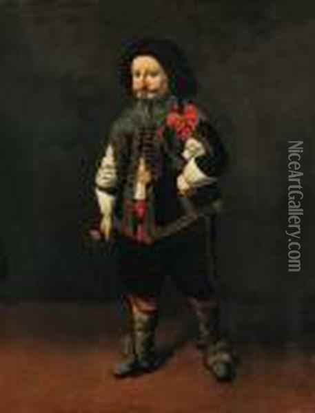 Portrait Of A Dwarf,  Full-length, In A Gold-embroidered Black Coatwith Slashed Sleeves, Black  Breeches, And A White Shirt Oil Painting - Carlo Ceresa