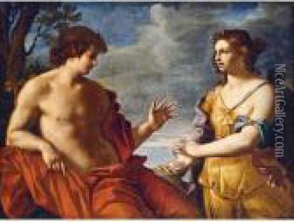 Apollo And The Cumaean Sibyl Oil Painting - Giovanni Domenico Cerrini