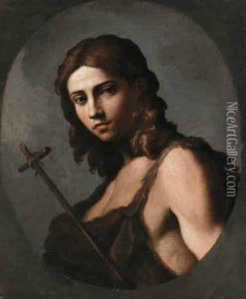Saint John The Baptist, Feigned Oval Oil Painting - Giovanni Domenico Cerrini