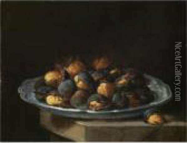 Still Life With Roasted Chestnuts On A White Plate Resting On A Stone Ledge Oil Painting - Giacomo Ceruti (Il Pitocchetto)
