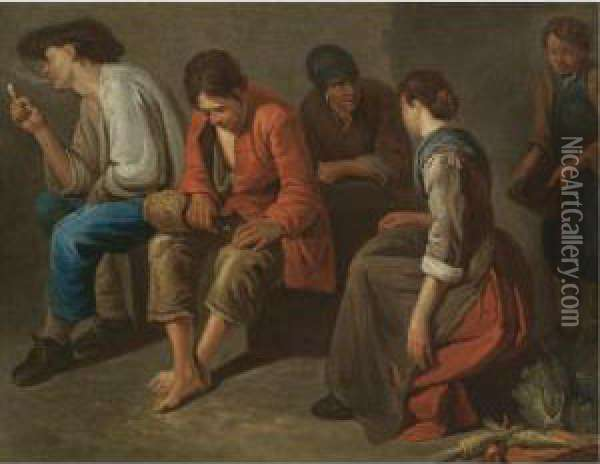 A Study Of A Tavern Interior With Peasants Drinking And Smoking Oil Painting - Giacomo Ceruti (Il Pitocchetto)