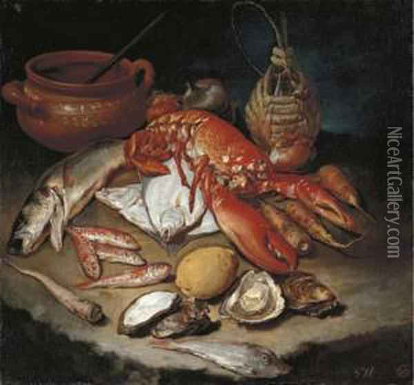 A Lobster, Herring, Turbot,  Skate, Red Mullets And Oysters With Turnips, Onions, A Lemon, An  Earthenware Pot And A Wicker And Glass Bottle On A Stone Ledge Oil Painting - Giacomo Ceruti (Il Pitocchetto)