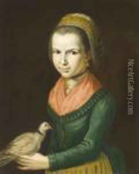 Young Girl Three-quarter Length  Wearing A Green Dress A Red Chemise And An  Elaborate Headress And Holding A Dove Oil Painting - Giacomo Ceruti (Il Pitocchetto)