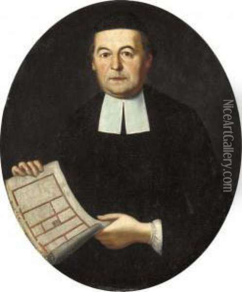 Portrait Of An Architect,  Half-length, In Black Robes And Black Skull-cap, Holding A Floor Plan Oil Painting - Giacomo Ceruti (Il Pitocchetto)