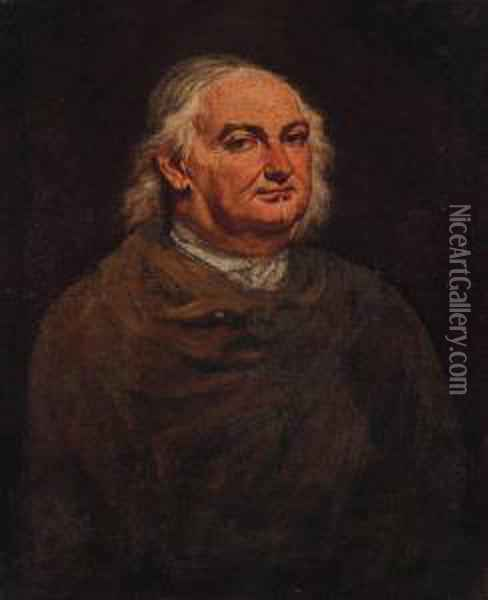Portrait Of A Gentleman, Half-length, Wearing A Brown Cloak Oil Painting - Giacomo Ceruti (Il Pitocchetto)