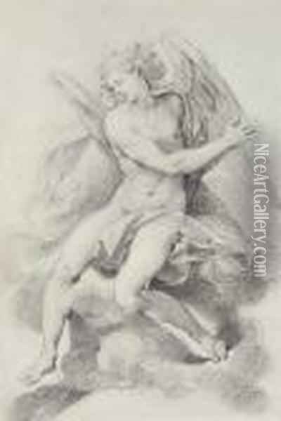 Study Of An Angel Seated On Clouds, Praying And Looking Down To Its Right Oil Painting - Giuseppe Cesari