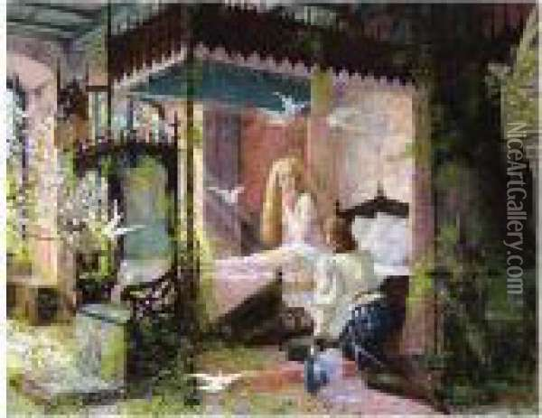 Sleeping Beauty Waking Up Oil Painting - Louis Chalon