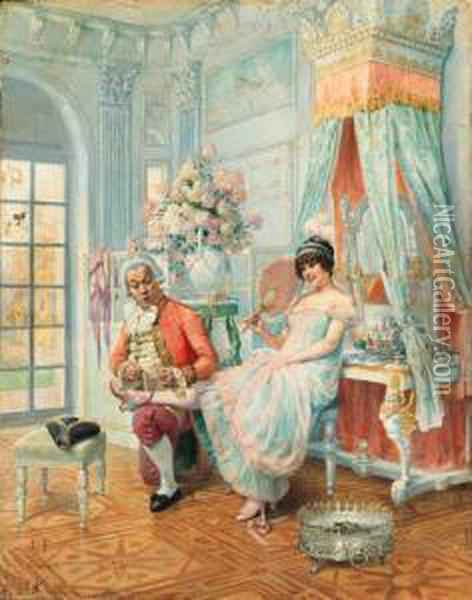 Flirting With The Butler Oil Painting - Louis Chalon