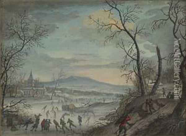 Winter Landscape With Ice Skaters On A Lake Oil Painting - Louis Chalon