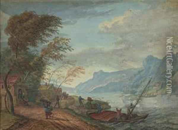 Landscape With A Windswept Lakeshore Oil Painting - Louis Chalon
