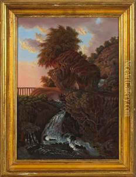 A Landscape With Waterfall And Cabin Oil Painting - Thomas Chambers