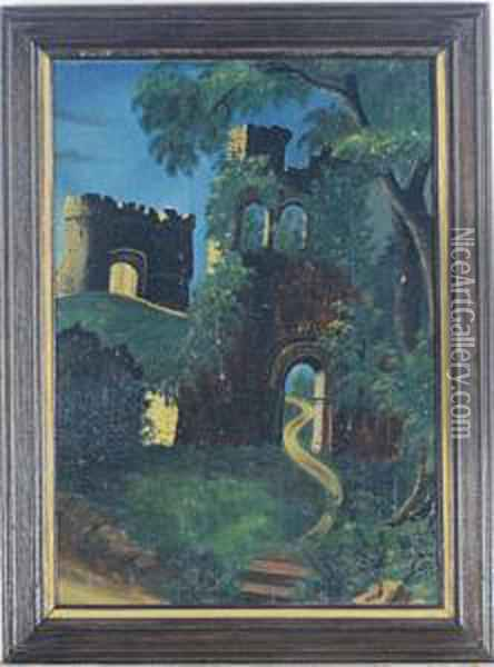 Castle Ruins Under The Moonlight; And A Companion Painting Oil Painting - Thomas Chambers