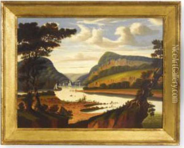 View Along The Delaware River With The Water Gap Oil Painting - Thomas Chambers