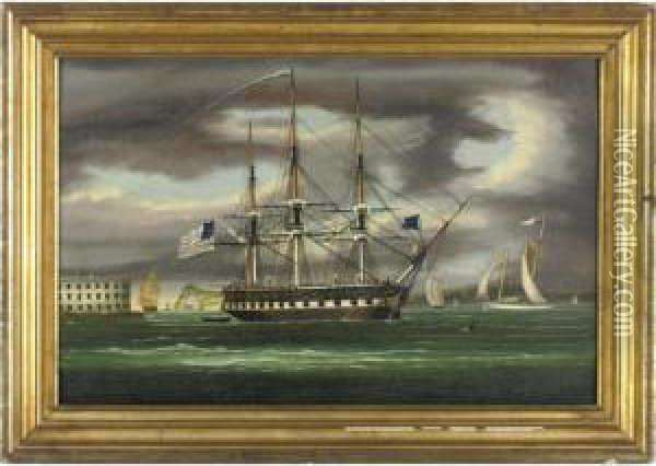 The Constitution In New York Harbor With Castle Gardens In The Background Oil Painting - Thomas Chambers