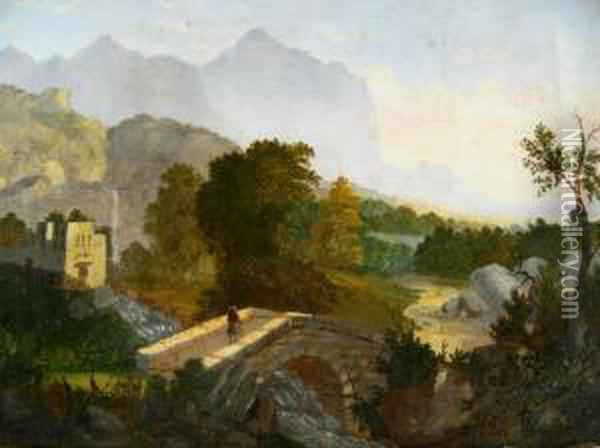 Hudson River Valley Oil Painting - Thomas Chambers