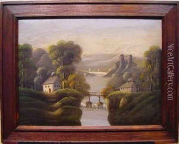 River Landscape Oil Painting - Thomas Chambers