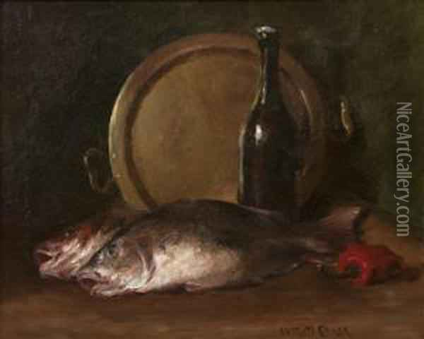 Two Fish Oil Painting - William Merritt Chase