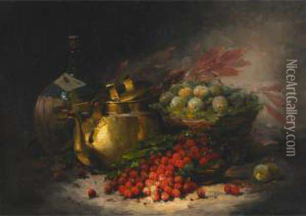 Still Life With Fruit, Brass Kettle And Carafe Oil Painting - William Merritt Chase