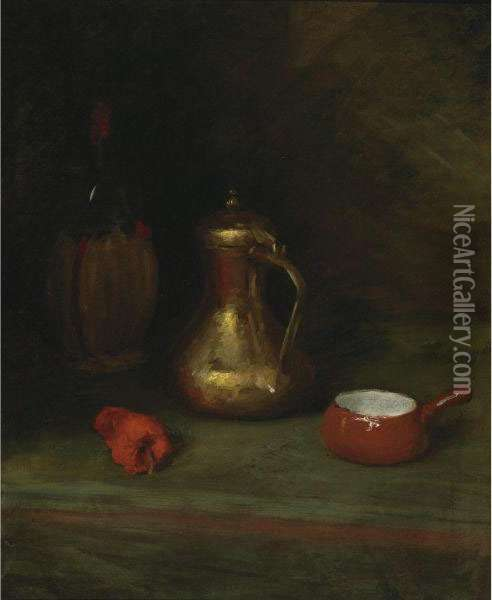 Still Life With Bottle, Carafe, Pot And Red Pepper Oil Painting - William Merritt Chase