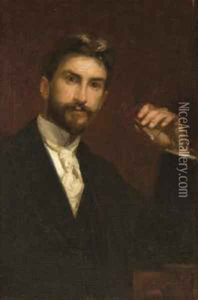 Man Holding A Cigar Oil Painting - William Merritt Chase
