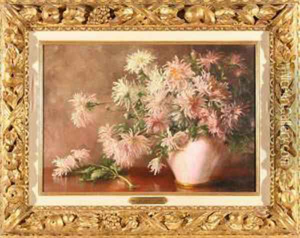 Vase Of Chrysanthemums Oil Painting - William Merritt Chase