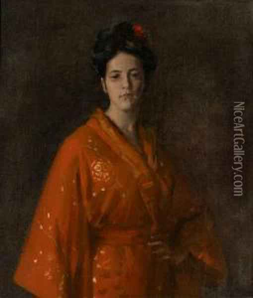 The Red Kimona (girl In Red) (the Artist's Daughter) Oil Painting - William Merritt Chase