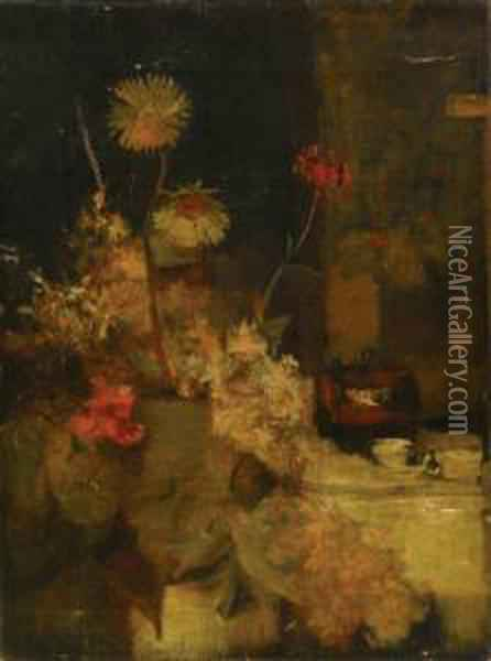 Floral Still Life Oil Painting - William Merritt Chase