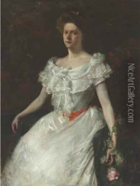 Portrait Of A Lady With A Rose (miss M.s. Lukens) Oil Painting - William Merritt Chase