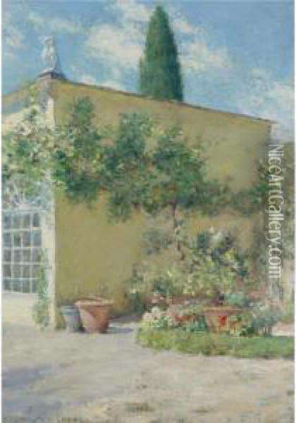 Orangerie Of The Chase Villa In Florence Oil Painting - William Merritt Chase