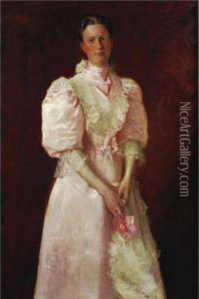 A Study In Pink (mrs. Robert Mcdougal) Oil Painting - William Merritt Chase