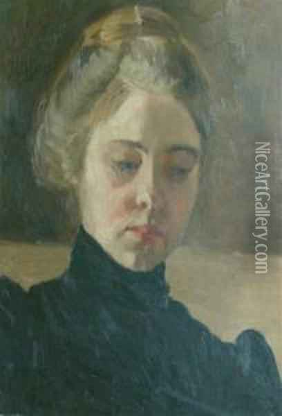 Portrait Of A Woman In Black Oil Painting - William Merritt Chase