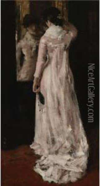 I Think I Am Ready Now (the Mirror, The Pink Dress) Oil Painting - William Merritt Chase