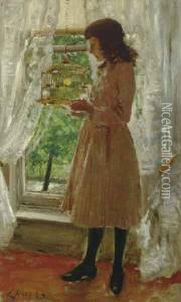 The Pet Canary Oil Painting - William Merritt Chase