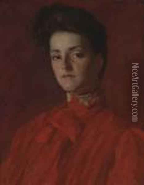 A Lady In Red Oil Painting - William Merritt Chase