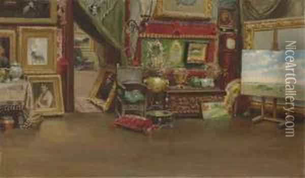 The East End Of William Merritt Chase's 10th Street Studio Oil Painting - William Merritt Chase