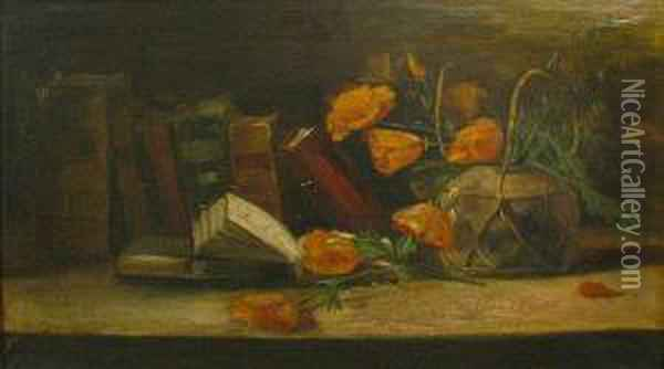 A Still Life With Poppies And Books Oil Painting - William Merritt Chase