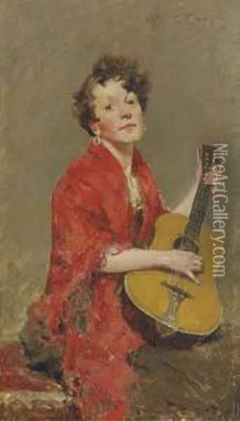 Girl With Guitar Oil Painting - William Merritt Chase