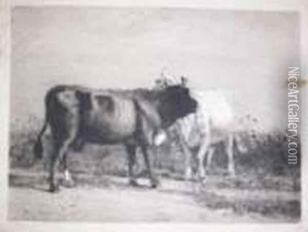 Two Cows Oil Painting - William Merritt Chase