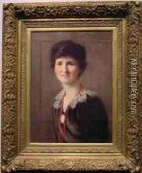 Portrait Of A Lady With Red Bead Necklace Oil Painting - William Merritt Chase