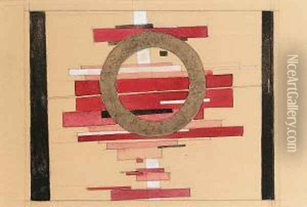 Design For A Suprematist Architectonic Composition Oil Painting - Ilya Grigorevitch Chashnik