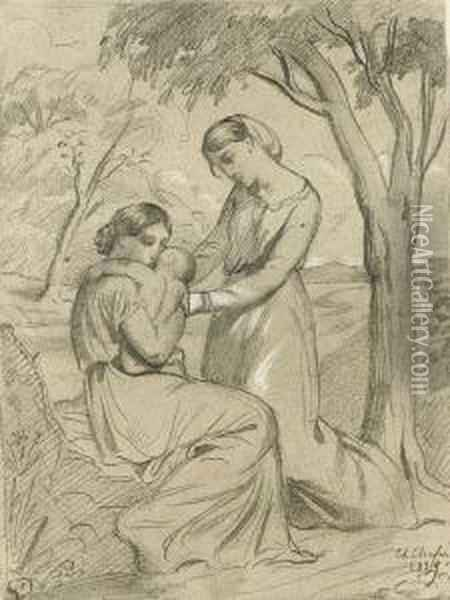 Two Women, One Sitting And Holding A Child, The Other Standing Under A Tree Oil Painting - Theodore Chasseriau