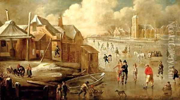 A frozen canal with skaters and men playing kolf Oil Painting - Jan Abrahamsz. Beerstraten