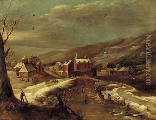 A winter landscape with a village by a river Oil Painting - Jan Abrahamsz. Beerstraten