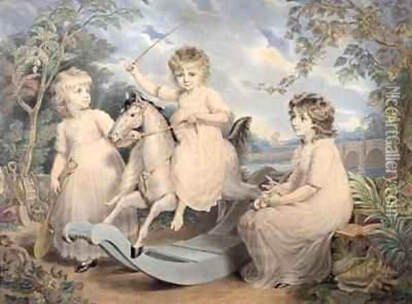 Portrait Group of three Children, possibly Sophie, Charles and Frances Burney Oil Painting - Edward Francis Burney