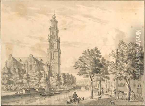 The Westerkerk on the Prinsengracht, Amsterdam, seen from the corner of the Bloemgracht Oil Painting - Jan De Beyer