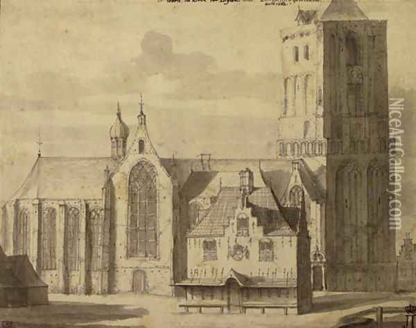 An imposing gothic church, said to be the Saint Peter's Church in Leiden Oil Painting - Johannes Abrahamsz. Beerstraaten