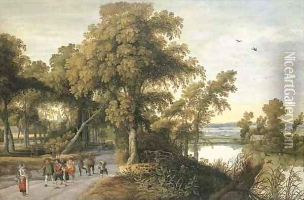 A wooded river landscape with soldiers, peasants and huntsmen on a path, a church through the trees beyond Oil Painting - Willem Van Den Bundel